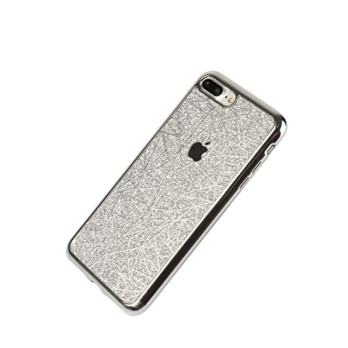 """Housse pour Apple iPhone 7Plus 5.5""""(NON iPhone 7 4.7""""), CLTPY 3D Coloré Scintillement Placage Bordure Case, Ultra Léger Mince Hull de Protection Absorption des Choques pour iPhone 7Plus + 1x Stylet -  Silver"""