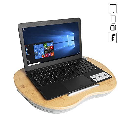 Knietablett Kissen, Betttablett, Laptopkissen, Knie Laptopständer, Notebook Ipad Buch lesen Stand,Sofa tragbare Laptop Ständer, kleines Laptop-Schoßtablett, stabilem Bambus für Laptops bis zu 14 Zoll