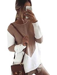 ZKOO Suéter Jerseys De Punto Mujeres Puntadas Manga Larga Cuello Redondo Punto Jerséy Pullover Tops Suelta Otoño e Invierno