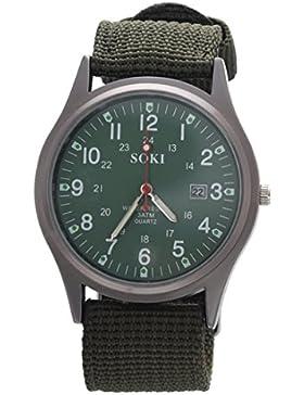 SOKI Militaer militaerisch Gestrick Band Armbanduhr (Armee-Gruen)