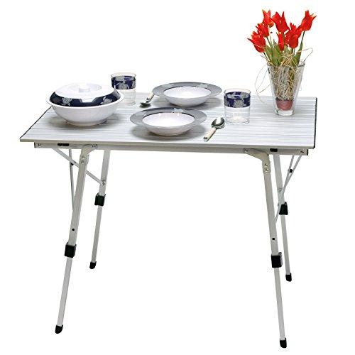 Alu Rolltisch, Campingtisch Bali, Tischplatte: 90 x 60 cm, Tischhöhe: 70cm, Aluminium
