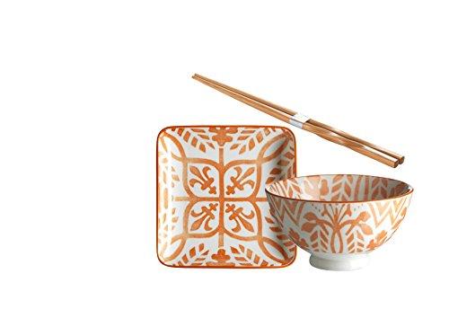Domestic by Mäser 931031Serie Zaragoza, Sushi–Vajilla de 18piezas, cuadrado, para 6personas, decorado en el color Porcelana, Naranja, 50x 30x 20cm, 18unidades