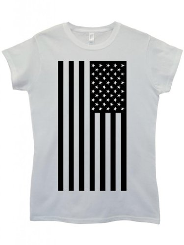 American Flag Black and White Weiß Cool Funny Hipster Swag White Weiß Damen  Women Top TShirt Weiß