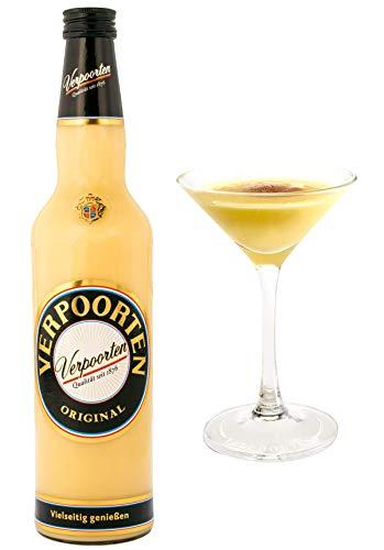 0,7 l Flasche VERPOORTEN ORIGINAL Eierlikör Set, inkl. 2 Eierlikör Cocktail Schalen