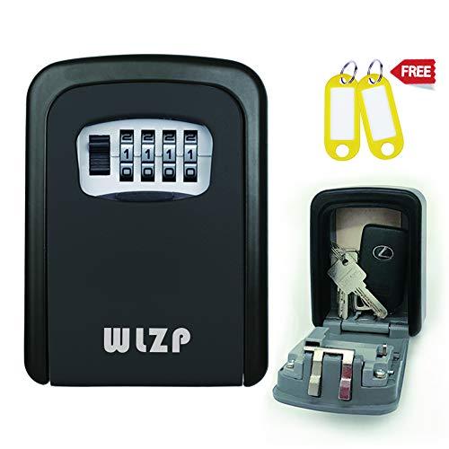 Schlüsseltresor, Schlüsselsafe mit 4-Stelliges Zahlencode Wandmontage Innen-aussenbereich, Schlüsselkasten Edelstahl und Wasserdicht, Geschenke - 2 Schlüsselbund