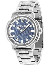 Police Tramp Herren Armbanduhr mit Blau Zifferblatt Analog-Anzeige und Silber Edelstahl Armband 14797js/08M