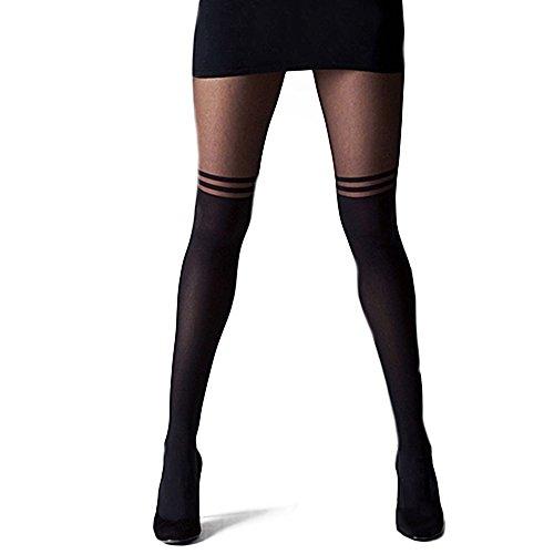 Vintage sexy Strümpfe, Strumpfhose, Mock Über das Knie doppelten Streifen, Feinstrumpfhose
