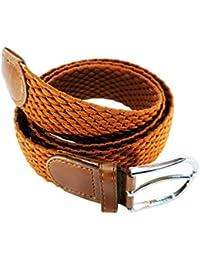 Cinturón trenzado hombre mujer elástico reforzado resistente y extensible cinturones  hebilla 605175286aff