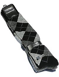 Lot de 3 paires de chaussettes hautes Thermo pour homme - tissu éponge - motif losanges