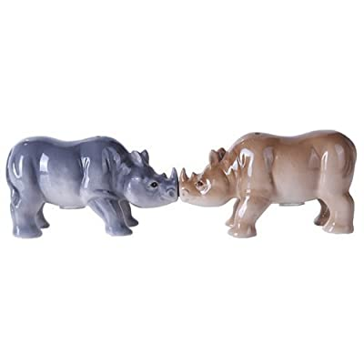4.75 inches Porcelain Animal Kingdom Rhinos Magnetic Salt and Pepper Shaker Kitchen Set by Pacific Giftware