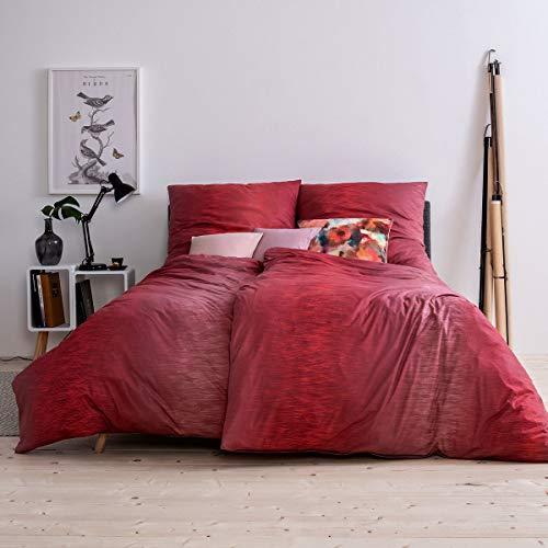 ESTELLA Mako Interlock Jersey Bettwäsche Kaleb mohn 1 Bettbezug 155 x 220 cm + 1 Kissenbezug 80 x 80 cm