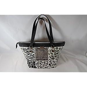 schwarze Handtasche in Krokooptik mit Animalstoff