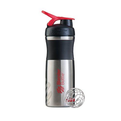 BlenderBottle Sportmixer Acier Inoxydable / Bouteille d'eau / Protéine Shaker Noir/Rouge/Acier (1 x 820 ml)