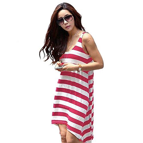 Frauen lösen loses Kleid-gestreiften Strand-Rock Rot