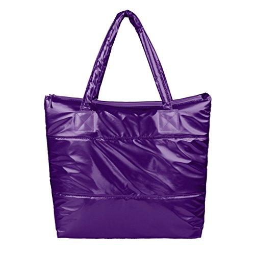 ZEARO Damen Schultertasche Casual Handtasche wasserdicht Lila