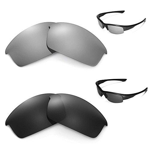 Walleva polarisierte Schwarze Gläser + Titangläser für Oakley Bottlecap