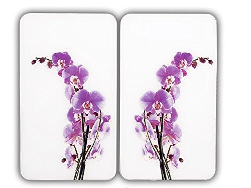 WENKO 2542433500 Herdabdeckplatte Orchideenblüte - 2er Set, für den Glaskeramik-Herd, Gehärtetes Glas, 30 x 1.8 x 52 cm, Mehrfarbig