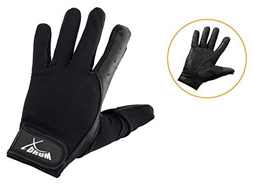 XDrum Drummer Handschuhe L (Größe L, mit langen Fingern, Innenfläche Leder, Außenseite Mesh) Schwarz