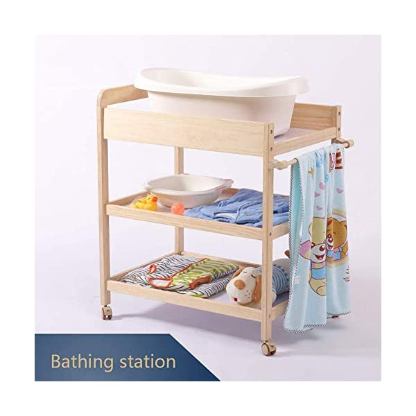 Baby Changing Table Dresser Nursing Station with Casters Portable Bath Organizer for Infant Moving Wood Storage- Natural (Size : 80x58x100cm) GUYUE Silent caster with brake. Safety rails enclose all four sides of the changing area Strong and sturdy wood construction: Pine + solid wood paint free board. 5
