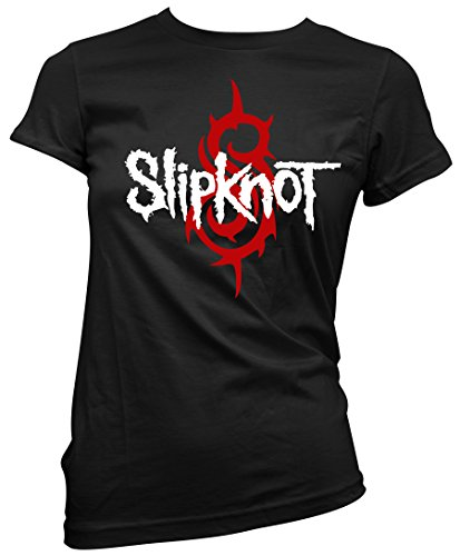 T-shirt Donna Slipknot - Red and White Logo Maglietta 100% cotone LaMAGLIERIA, S, nero