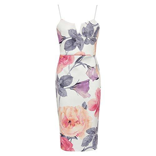 Mesdames Aquarelle imprimé floral Plunge Cami Dress EUR 36-42 multi blanc