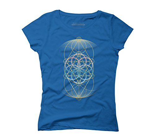 Geometric Flower Women's Graphic T-Shirt - Design By Humans Royal Blue