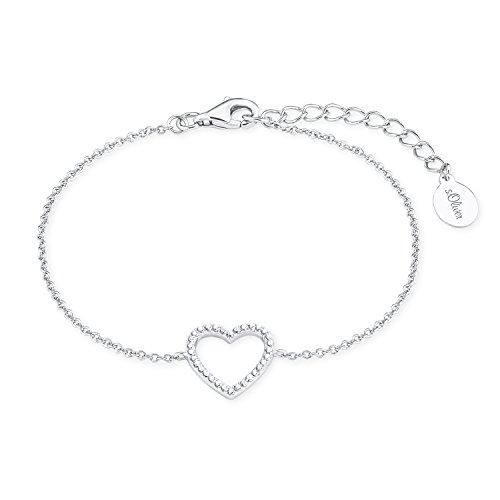 s.Oliver Damen-Armband So Pure 16+3 cm mit Herz-Anhänger 925 Silber rhodiniert Zirkonia weiß