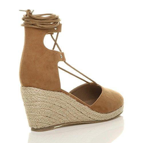 Damen Mitte Keilabsatz Fesseln Binden Gillie-Schuh Espadrilles Sandalen Größe Hellbraun Wildleder