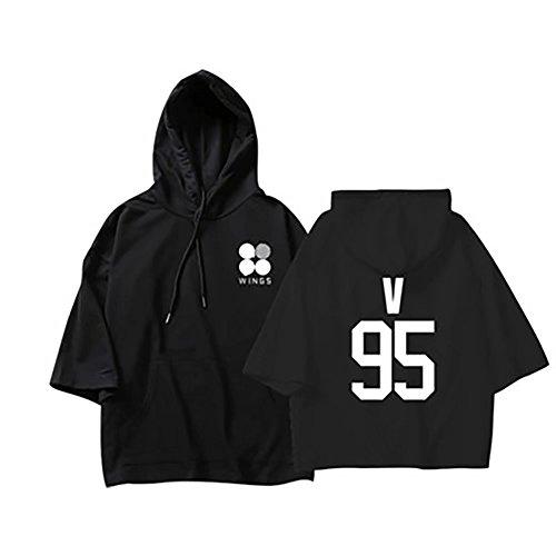BTS Wings Bangtan Kurzarm Kapuzenpullover Tshirt V Schwarz L