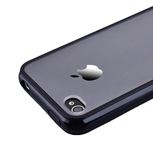SMART LEGEND iPhone 4/iPhone 4S Weiche Silikon Hülle Bumper & Transparent Backcover Matt PC Schutzhülle Harte Rückseite Handyhülle klare Etui Ultra Slim Design Glatt Handy Tasche Soft Case Flexible Si Schwarz Rahmen