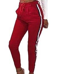 Pureed Mujer Primavera Pantalon Otoño Jogging Cordón De con con Slim Fit Bolsillos  Pantalon Largos De Rayas Verticales Tela Pantalon De… 5ffb205a724a