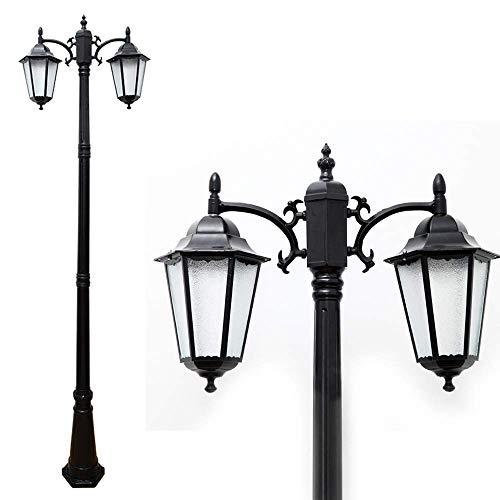 Mastleuchte 2-flammig schwarz E27 Außen Wasserdicht IP44 Aluminium-Druckguss und Glas Lampenschirm 225 cm hoch Kandelaber Strassenlaterne Terrasse Rasen Gartenleuchte im Freien Wegleuchte