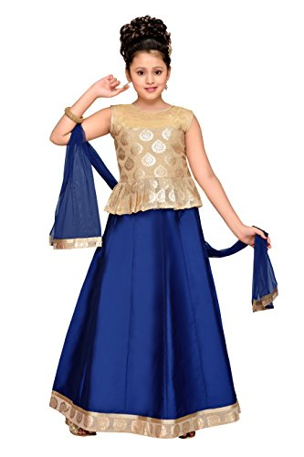 Adiva Girl's Party Wear Lehenga Choli Set For Kids (G_1015_ROYAL_BLUE_36)