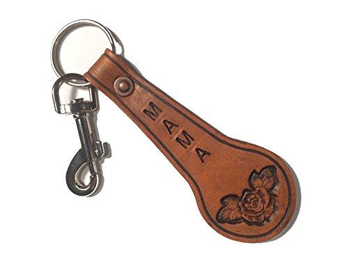 Schlüsselanhänger Leder mit Gravur handgemacht echtes Rindleder in Österreich personalisiert mit Wunschmotiv ideal als individuelles Geschenk zu jedem Anlass für Damen & Herren (ROSE mit Blätter) -