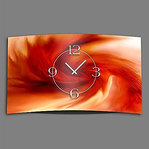 De colour rojo con diseño de chapa de acero inoxidable de diseño abstracto de remolino de reloj de pared de diseño moderno reloj de pared con diseño de 28 cm x 48 cm silencioso sin tic tac DIXTIME 3D-0180