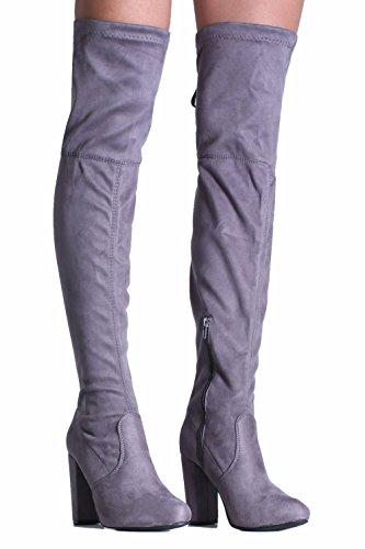 PILOT® faux bloc en daim talon haut sur les bottes au genou Gris
