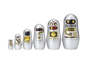 Matryoshka Wahnsinn Roboter Nisten Puppen - Silber 114mm zu 30mm hoch