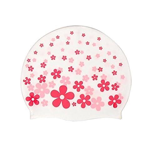 Neeiors Cute enfants souple étanche en silicone Bonnet de bain d'été piscine Spa Bonnet de bain Cheveux oreille Coque Bain Chapeau, Motif fleurs Rouge