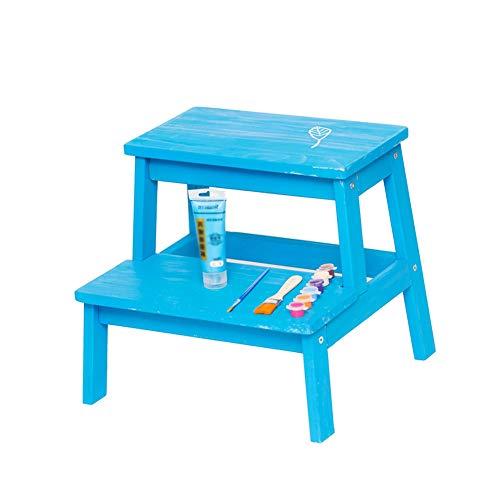TH Klappstufen Tritthocker aus Holz für Erwachsene und Kinder Wechseln Sie die Schuhbank aus (Farbe : Blau)