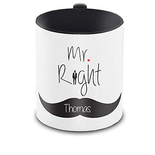 Tasse mit Namen Thomas und schönem Mr. Right - Motiv zum Valentinstag - Liebestasse Keramiktasse