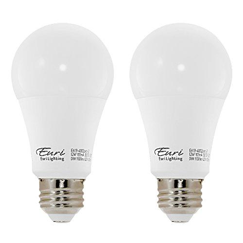 Euri Beleuchtung EA19-5000LED A19Glühbirne, 200Grad Abstrahlwinkel, Medium Basis (E26), ul-listed, 2 Pack, 3000K (Soft White), 2 - 2er Pack Glühbirne A19