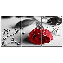 Lienzo Pintura para Decoración del hogar Todavía vida de amor de rosas rojas flores sobre fondo blanco y negro Vintage con elementos 3piezas Panel giclée de cuadros moderno arte enmarcado y estirado sobre la imagen para decoración de la sala de estar fotos imágenes flores impresiones sobre lienzo