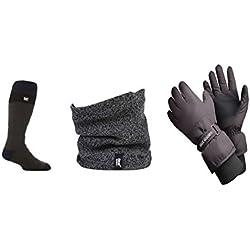 Heat Holders - Uomo vestiti del pattino kit Accessori insieme compreso guanti da sci calze da sci e scaldacollo (guanti S/M, Grigio Scaldacollo / Grigio Nero Sci Calze)