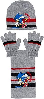 Sonic The Hedgehog - Set invernale per bambini, con sciarpa e guanti, 3 pezzi