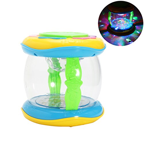 Toyvian Kinder Musik Trommel Kunststoff Musikinstrument Spielzeug LED Leuchten Spielzeug pädagogisches entwicklungsspielzeug für Kinder (zufällige Farbe)