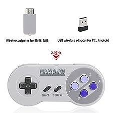 Mando inalámbrico para Super NES Classic Edition&NES Classic Edition, HonWally 2.4 GHz USB Game Pad para PC, Raspberry PI (S, Windows, Linux,Android) Doble Adaptador inalámbrico