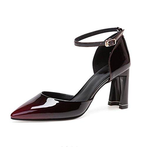 MUMA Pumps Rough-heeled Sandalen weibliche Spitze High Heels Baotou Mid-Air weibliche Schuhe Wein rot ( größe : EU39/UK6/CN39 )