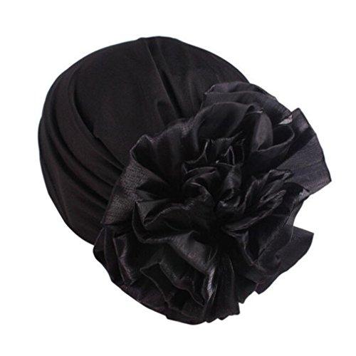 Kopftuch für Frauen Damen Chemotherapie Hut Beanie Schal Turban Kopf Wrap Cap Soft Schal für Haarausfall, Krebs, Chemo Therapie Pre Tie (Schwarz) (Ein Gutes Gefühl-therapie)