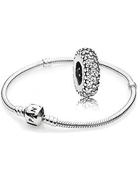Original Pandora Geschenkset - 1 Silber Armband 590702HV-23 + 1 Silber Zwischenelement 791359CZ Pavé-Inspiration