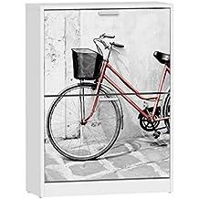 Zapatero 2 baldas Suarez, diseño Bici Roja, 1 unidad, color blanco, dimensiones 82 x 60 x 24,2 cm (H329-BCJ)